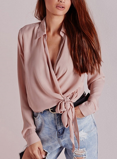Casual Turn Down Collar V Neck Long Sleeve Wrap Knot Solid Loose Blouse