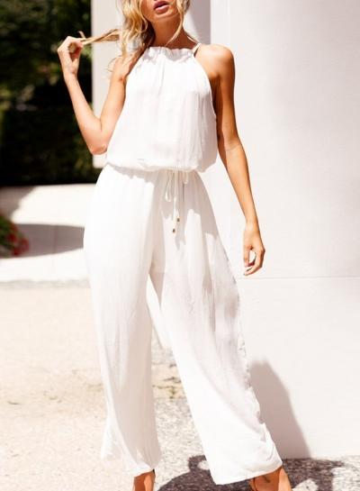 bac990afd12d Summer Casual Sleeveless High Waist Straight Wide Leg Drawstring Jumpsuit