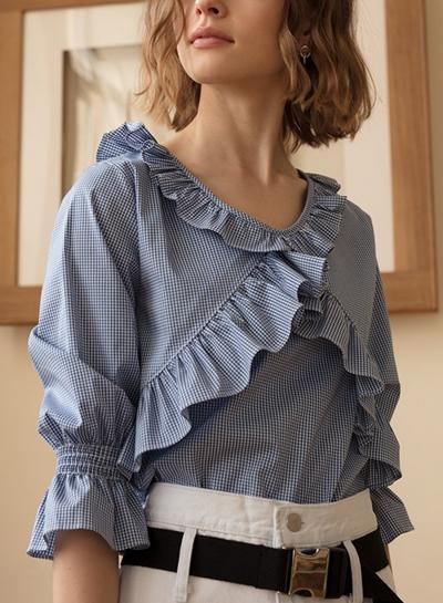 Casual Vintage Half Sleeve Round Neck Ruffle Plaid Blouse