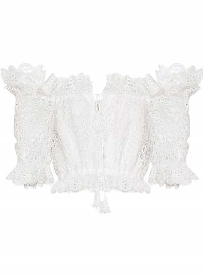 Sexy Off The Shoulder Half Sleeve Crop Top Lace Hollow Out Blouse