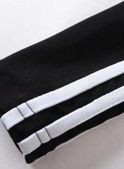Casual Striped Full Zip Crop Top Long Sleeve Stand Collar Slim Coat