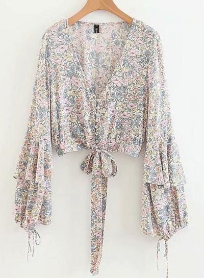 Sexy Floral V Neck Bow Crop Top Lantern Sleeve Beach Button Down Shirt