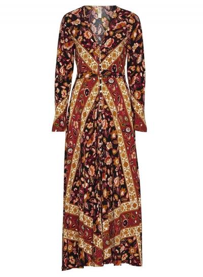 Fashion Boho Single-Beasted V Neck Long Sleeve Floral Maxi Dress