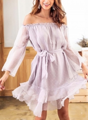 Summer Sexy Jacquard Off The Shoulder Long Sleeve Bow Tie Ruffle Dress
