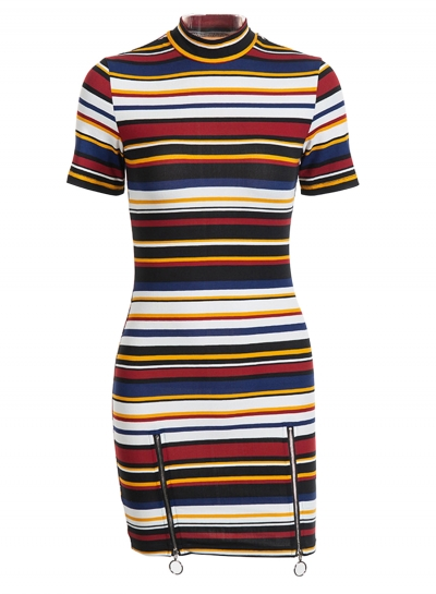 Sexy Striped High Neck Short Sleeve Pullover Bodycon Dress With Zip