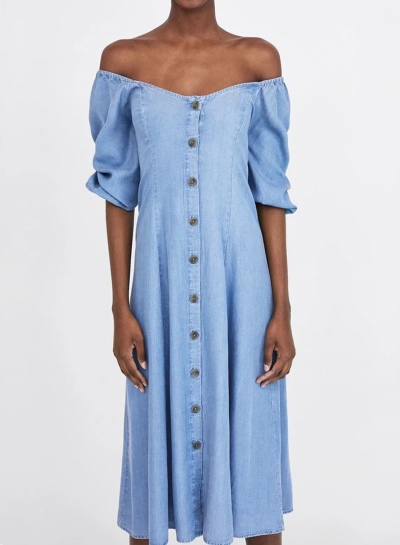 686343750193 Sexy Off Shoulder Lantern Sleeve Single-Breasted Loose Denim Maxi Dress -  STYLESIMO.com