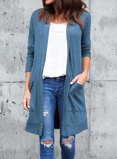 Fashion Casual Loose Long Sleeve Solid Pockets Long Cardigan