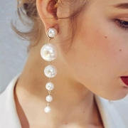 Fashion Alloy Six Pearls Tassel Drop Earrings