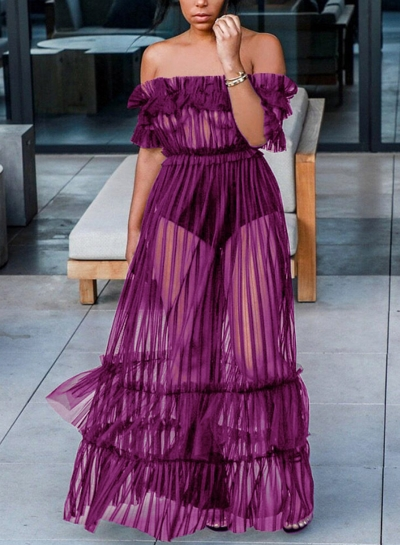 Purple Sexy Transparent Mesh Slash Neck Off The Shoulder High Waist Swing Dress