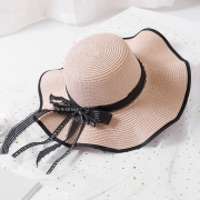Casual Straw Floppy Foldable Beach Sunscreen Hat With Wave Ribbon