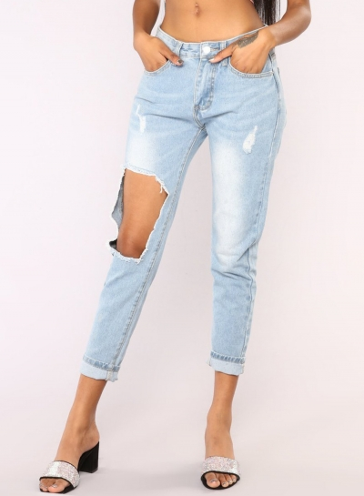 Casual High Waist High Elasticity Destroyed Pencil Jeans With Pocket