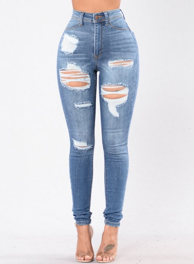 Casual Destroyed Retro Wash High Waist Slim Fit Jeans