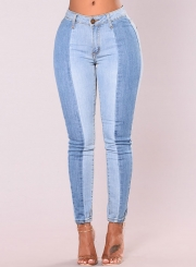 Casual Retro Washed Splice Stretch Skinny High Waist Pencil Jeans