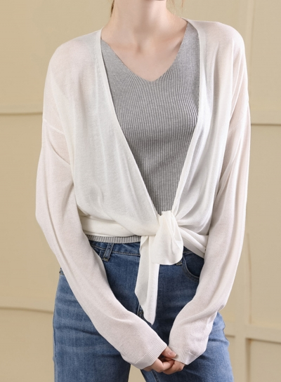 Long Sleeve Open Front Loose Solid Color Bow Tie Cardigan