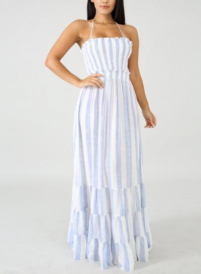 Striped Halter Neck High Waist Backless Swing Maxi Dress
