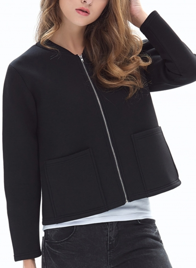 Casual Full Zip Long Sleeve Slim Solid Color Short Coat With Pockets