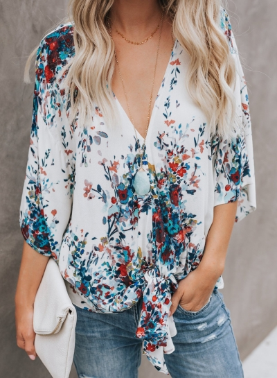 Chiffon Floral Print V Neck Half Bow Tie Loose Blouse