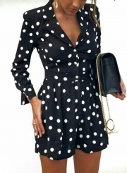 V Neck Long Sleeve Wide Leg Polka Dot Slim Romper With Pockets