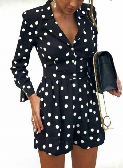 V Neck Long Sleeve Wide Leg Polka Dot Slim Romper With Pockets STYLESIMO.com