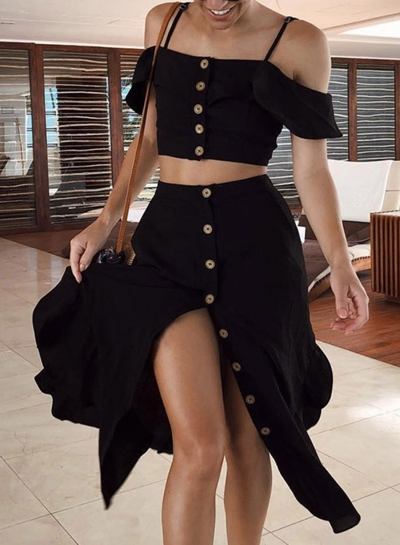 2 Piece Spaghetti Strap Crop Top Button Down Skirt Outfit STYLESIMO.com