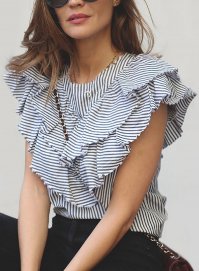 Casual Striped Sleeveless Round Neck Ruffle Pullover Blouse