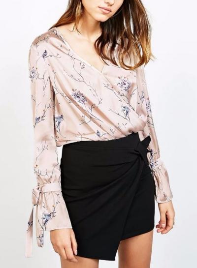 Floral Print V Neck Long Sleeve Loose Blouse