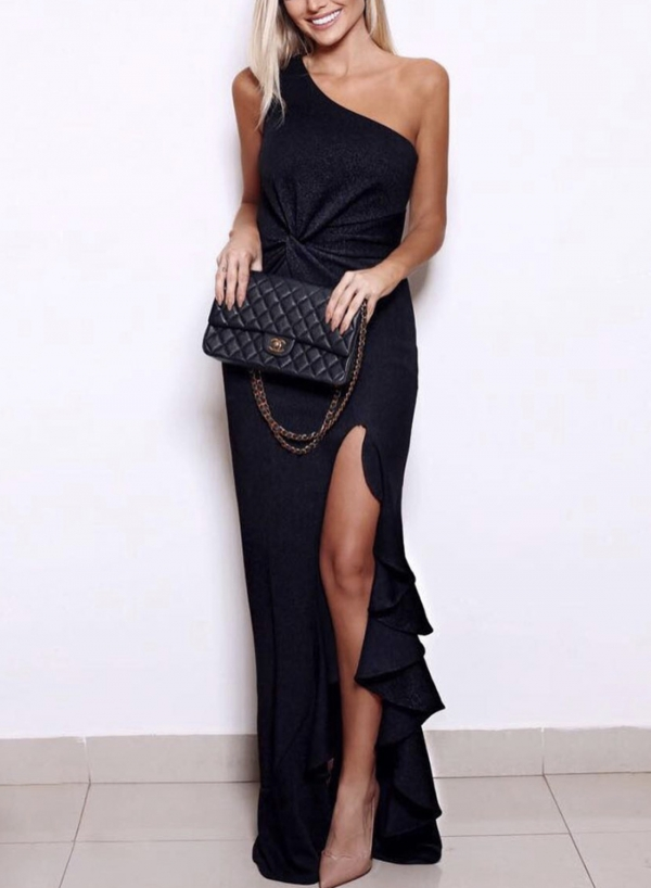 Black One Shoulder Elegant Evening Dress
