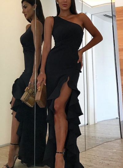 20c1df7bfa423e Black One Shoulder Elegant Evening Dress - STYLESIMO.com