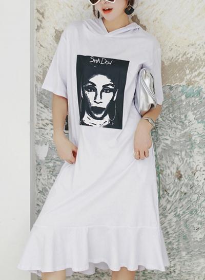 Hooded Print Short Sleeve Round Neck Loose Ruffle Hem Dress