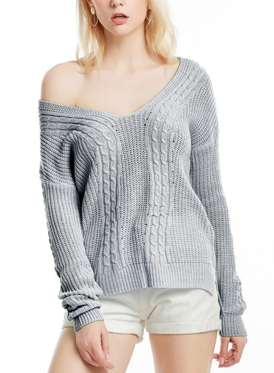Womne's V Neck Long Sleeve Loose Solid Color Pullover Sweater