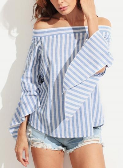 Striped Off The Shoulder Flare Sleeve Loose Irregular Blouse