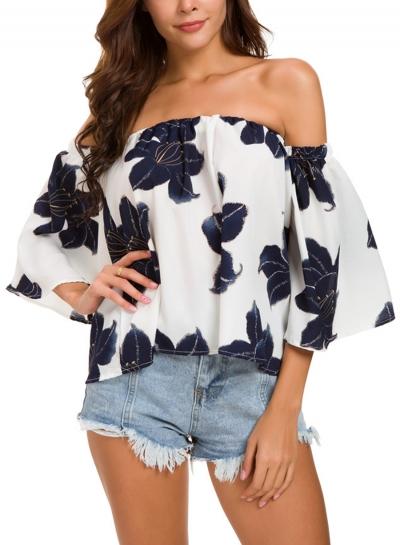 Summer Floral Print Off Shoulder Flare Sleeve Loose Pullover Blouse