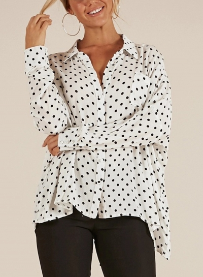 Polka Dot Turn-Down Collar Long Sleeve High Low Loose Button Down Shirt