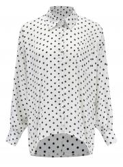 7e239506 ... Polka Dot Turn-Down Collar Long Sleeve High Low Loose Button Down Shirt  ...