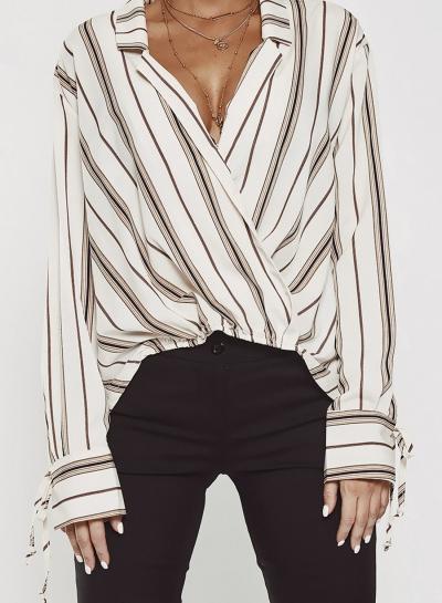 Striped Long Sleeve Turn-Down Collar Boyfriend Blouse