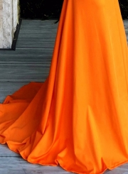 Orange Chest Wrapped Bow Mermaid Long Prom Dress
