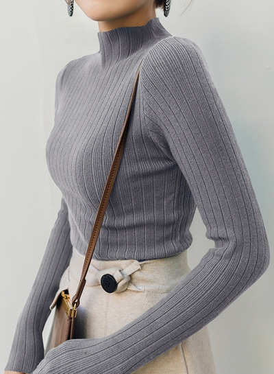 Grey Concise Long Sleeve High Neck Slim Pullover Sweater
