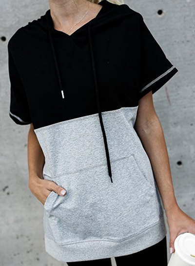 Summer Hooded Sleeveless Color Block Pockets Pullover Hoodie STYLESIMO.com