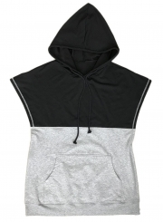 Summer Hooded Sleeveless Color Block Pockets Pullover Hoodie