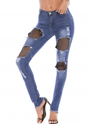 Ripped High Waist Pockets Pencil Jeans With Burrs
