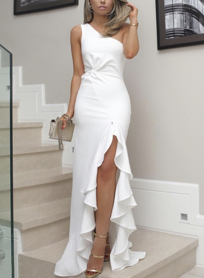 White Slim One Shoulder Slit Ruffle Cocktail Dress STYLESIMO.com