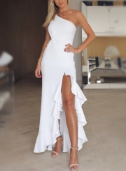 White Slim One Shoulder Slit Ruffle Cocktail Dress