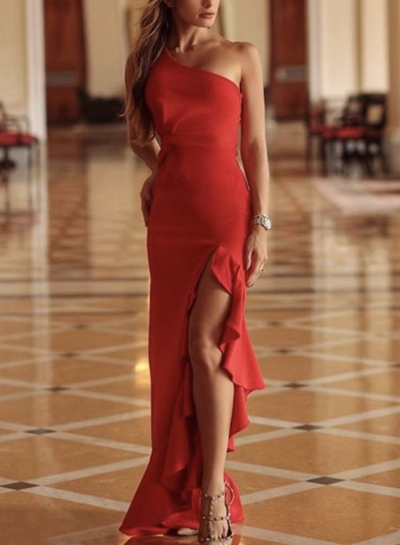 Red Slim One Shoulder Slit Ruffle Cocktail Dress