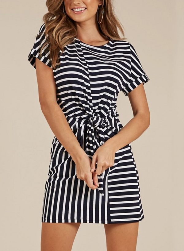 Black White Stripe Loose Dress
