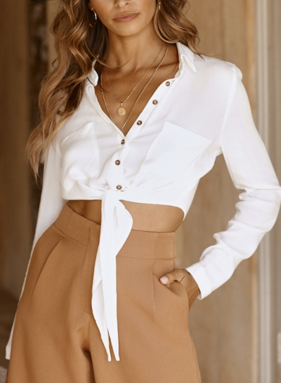 Sexy Turn-Down Collar Long Sleeve Crop Top Button Down Shirt With Pockets