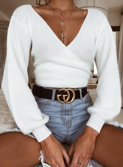 Casual V Neck Long Sleeve Loose Pullover Sweater
