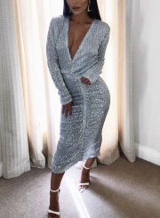 Silver V Neck Long Sleeve Sequins Bodycon Cocktail Dress