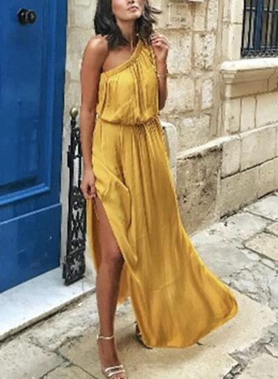Yellow One Shoulder Elastic Waist High Slit Asymmetric Maxi Dress