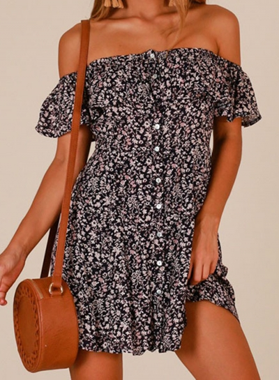 Back Summer Floral Off Shoulder Ruffle Sleeve Button Down Loose Mini Dress