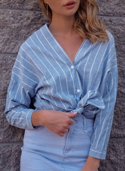 Blue Striped V Neck Long Sleeve Loose Button Down Shirt